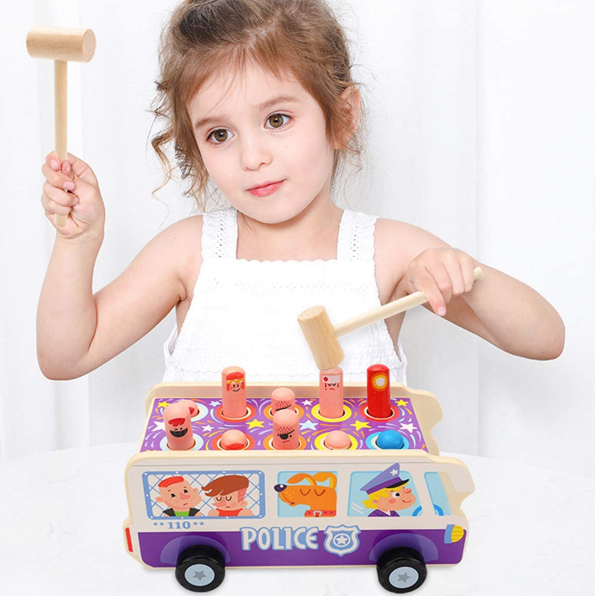 KAILUN Wooden Hammer Toys for 1 2 A Old Year 3 in Along Max 49% OFF Jacksonville Mall Pull