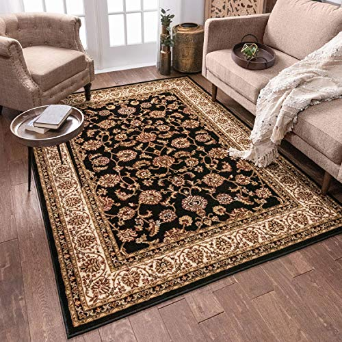 Noble Sarouk Green Persian Floral Oriental Formal Traditional Area Rug 7x10 ( 6'7' x 9'6' ) Easy to Clean Stain Fade Resistant Shed Free Modern Contemporary Transitional Soft Living Dining Room Rug
