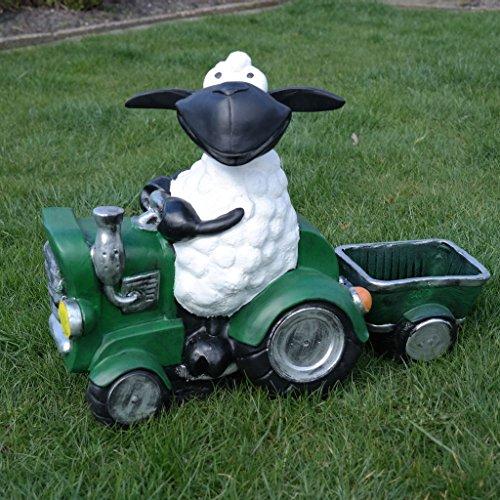 FDSt Schaf Molly auf Traktor, zum Bepflanzen, Tierfigur Deko Garten Terrasse