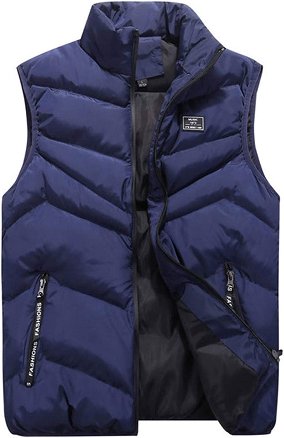 WUAI-Men Down Vest Thicken Classic Sleeveless Stand Collar Outdoor Side Pockets Padded Quilted Puffer Jackets Outwear