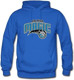Custom Men Orlando Magic Team Logo Hoodies Pullover Sweatshirt XLarge Blue