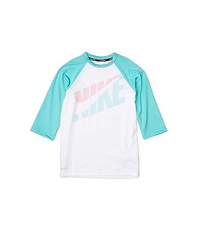 Nike Kids Tilt Short Sleeve Hydroguard (Little Kids/Big Kids) (White) Girl