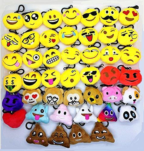 CHSYOO 45 Stücke Mini Emoji Schlüsselanhänger Durchmesser 5cm Smileys Plüsch Kissen Stil Tasche Anhänger, Geschenk für Geburtstag Kinderparty Babyparty Garten Party