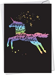 Horns and Unicorns - Rainbow Cake - Motivational Birthday Greeting Card with Envelope (4.63 x 6.75 Inch) - Mythical Horse, Gratitude Bday Note Card for Girls, Kids - Colorful Animal Card C6826IBDG