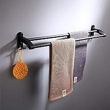 Space aluminium badkamer handdoekstang gratis punch enkelpolige dubbele staaf hangende handdoekenrek, zwarte badkamer hand...