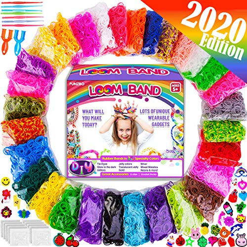 13,500+ FunzBo Rubber Band Loom Refill Kit - 3 in 1 Super Colorful Rubber Loom Bands for Bracelet, Hair Band, DIY Arts and Crafts - Perfect Gift for Kids Age 5 6 7 8 Year Old Girls Crafting