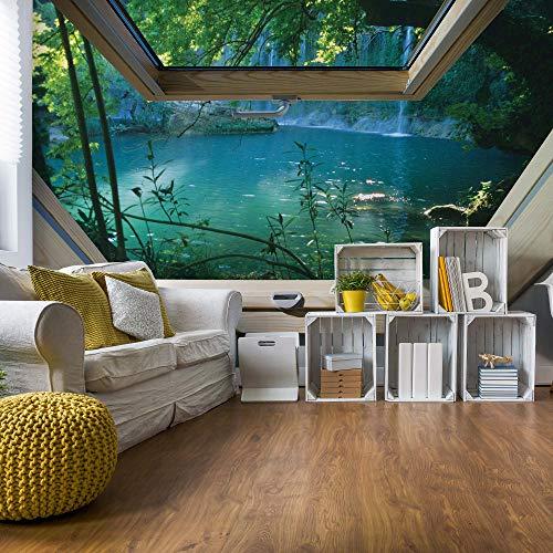 See 3D-Dachfenster-Ansicht Vlies Fototapete Fotomural - Wandbild - Tapete - 520cm x 318cm / 5 Teilig - Gedrückt auf 130gsm Vlies - 10410VEXXXXXL - Seen und Wasserfälle