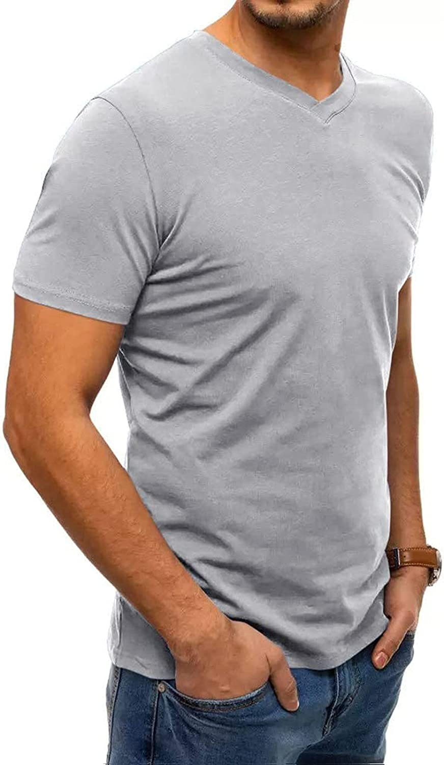 Men's Fashion Pure Color Tops Casual Short Sleeve Henley T-Shirts Cotton Shirts