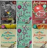 AriZona Assorted Iced Tea Stix (2 Green Tea, 1 Arnold Palmer, 1 Green Tea Pomegranate, 1 Peach Iced Tea, 1 Green Tea Lemon) 10 Count Per Box (Pack of 6), Single Serving Drink Powder Packets, Add Water