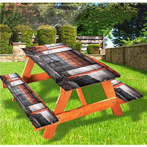 Industrial Picnic Table and Bench Fitted Tablecloth Cover,Old Gate Entrance Elastic Edge Fitted Tablecloth,28 x 72 Inch, 3-Piece Set for Camping, Dining, Outdoor, Park, Patio