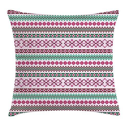 Etnisch kussen kussensloop, ruit- en driehoekige vormen met inheemse kunstinvloeden roze en groene tinten, decoratieve vierkante accentkussensloop, 18 x 18 inch, roze zeegroen