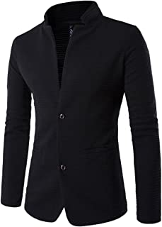 ZongSen Mens Slim Fit Casual Stitching Collarless Single Breasted Blazer Jacket
