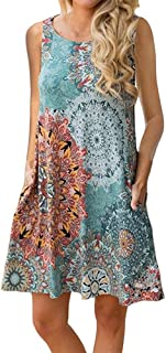 Womens Crew Neck Floral Printed Sleeveless Casual Swing Tank Dress Sundress with Pockets