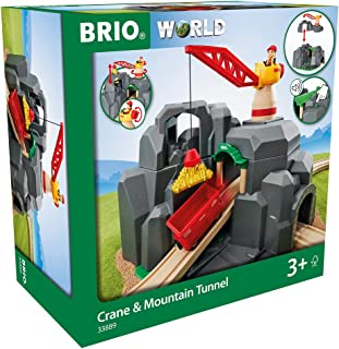 BRIO World - 33889 Crane & Mountain Tunnel   7 Piece Toy Train Accessory for Kids Ages 3 and Up,Multi