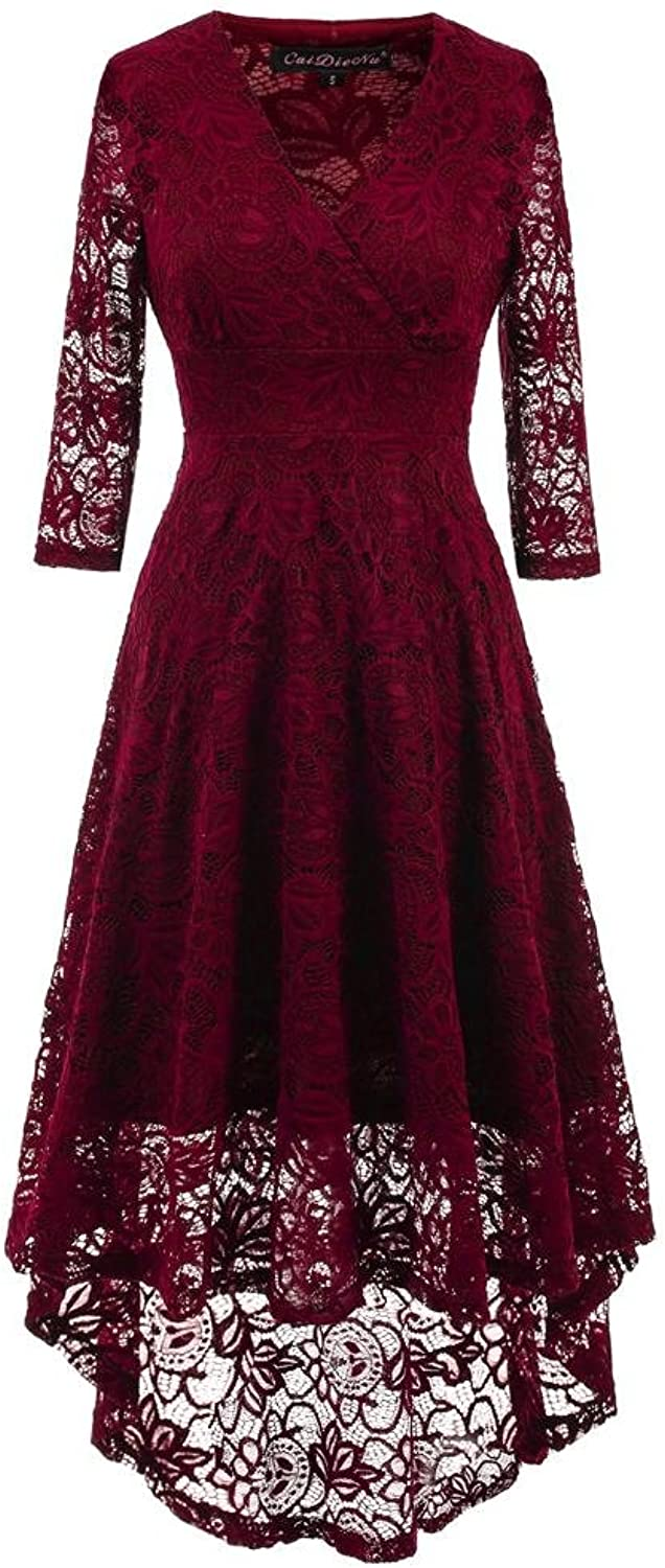 GJX Women Vintage Beautiful Floral Lace Swing Skirt With 3 4 Long Sleeve Deep V Neck High Waist Lace Party Cocktail Dress