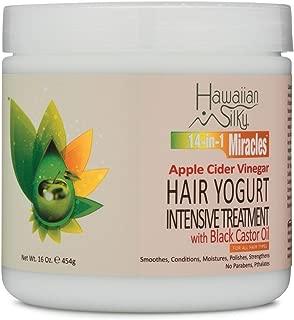 Hawaiian Silky Hawaiian silky 14-in-1 miracles hair yogurt intensive treatment with black castor oil 16 ounce, White, 16 Ounce