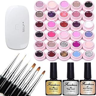Set of 30 colors Soak-off UV LED Semi Permanent Nail Gel Nail Polish Nail Art Manicure Kit with 3Pcs 12ML Professional base Coat Matte Top Coat Top Coat, 6Pcs Different Functions Brushes with Lamp