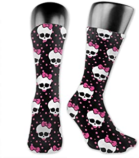yting, Pink Skull Bow Red Lip Casual Crew Dress Calcetines para niños niñas, cosplay, baloncesto, caza