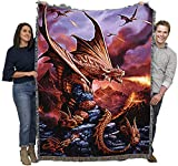 Fire Dragon Anne Stokes Age of Dragons Collection - Cotton Woven Blanket Throw - Made in The USA (72x54)