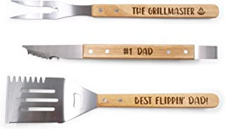 Huray Rayho Party BBQ Tools Set for Dad Engraved Grill Set Grill Master Summer Barbecue Housewarming Gift Set of 3
