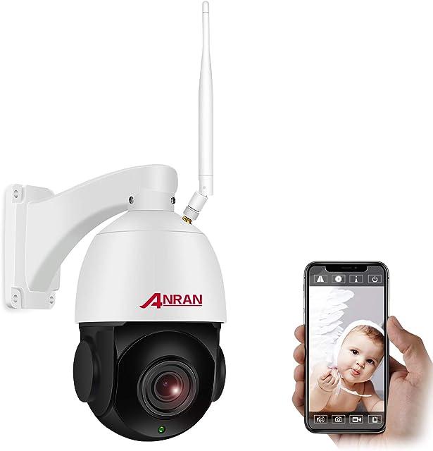 【20X Zoom】 1080P PTZ Cámara de Seguridad WiFi Interior Exterior Óptico de Alta Velocidad ANRAN Cámara Domo con Tarjeta SD de 32GB Audio Bidireccional Visión Nocturna Detección de Movimiento