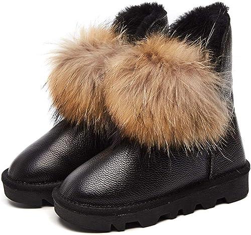 DANDANJIE Femmes Bottes de Neige Hiver Chaussures Anti-dérapantes Cheville Talon Plat Chaud Pom-Pom Chaussons Chaussures Noires