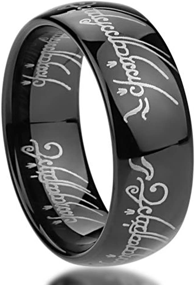 Double Accent 8MM Stainless Steel Comfort Fit Wedding Band Laser Etched Old Letter Pattern Lord Rings (Size 6 to 14)