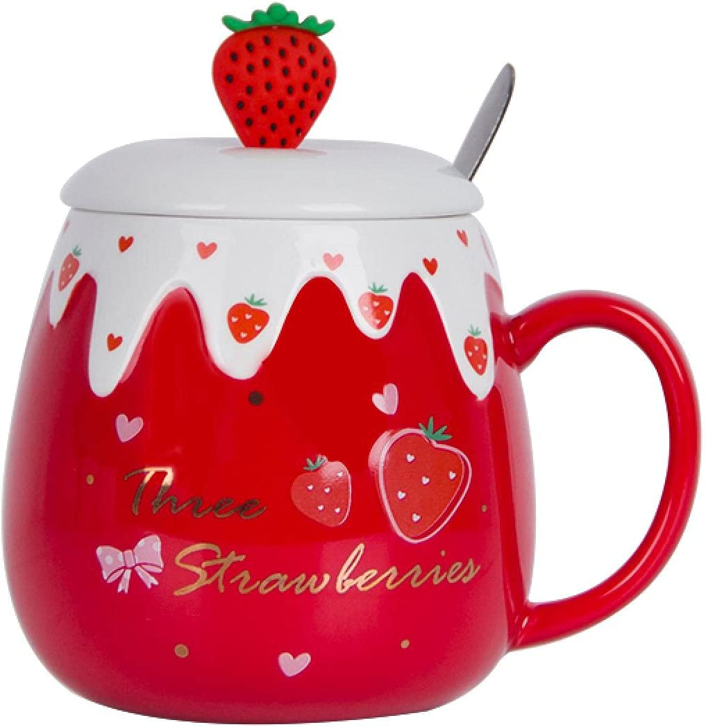 400ml Cute Ceramic Max 78% OFF Mug With Lid Spoon St Capacity Creative Max 90% OFF Large