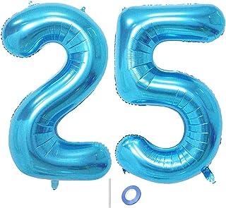 Huture 2 Globos Número 25 Figuras Globo Inflable de Helio Globos Grandes de Aluminio Mylar Globos Azul Gigantes Número Globos 40 Pulgadas para Fiesta de Cumpleaños decoración graduación XXL 100cm