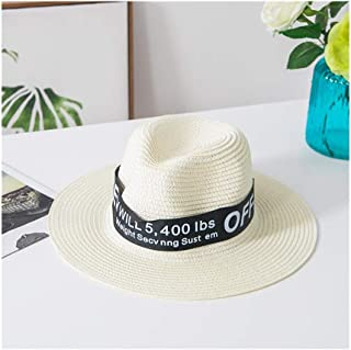 Hats Female Sun Beach Shade Grass Hat Summer Letter Top Hat Fashion (Color : White, Size : 58-60cm)