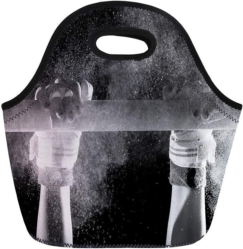 Semtomn Lunch Bags Athlete Black Grip Hands Of Gymnast Chalk White Gym Neoprene Lunch Bag Lunchbox Tote Bag Portable Picnic Bag Cooler Bag