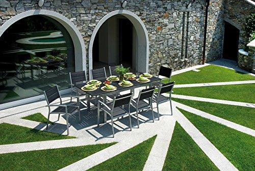 PEGANE Ensemble de Jardin Table Extensible + 8 chaises en Aluminium Argent - 150/210 x 90 cm