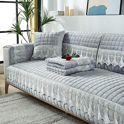 YUTJK Cotton Printed Corner Sofa Slipcover,Living Room Fabric Sofa Seat Covers,Furniture Protector Cover,Cojín de sofá de Terciopelo a Cuadros con Encaje,para Primavera,Gris