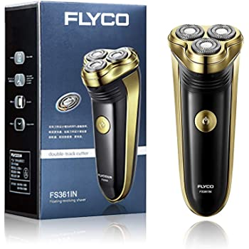 FLYCO Electric Shaver FS361IN, Rechargeable Men's Beard Trimmer Cordless with Pop Up Trimmer and Charging Indicator, Black & Gold