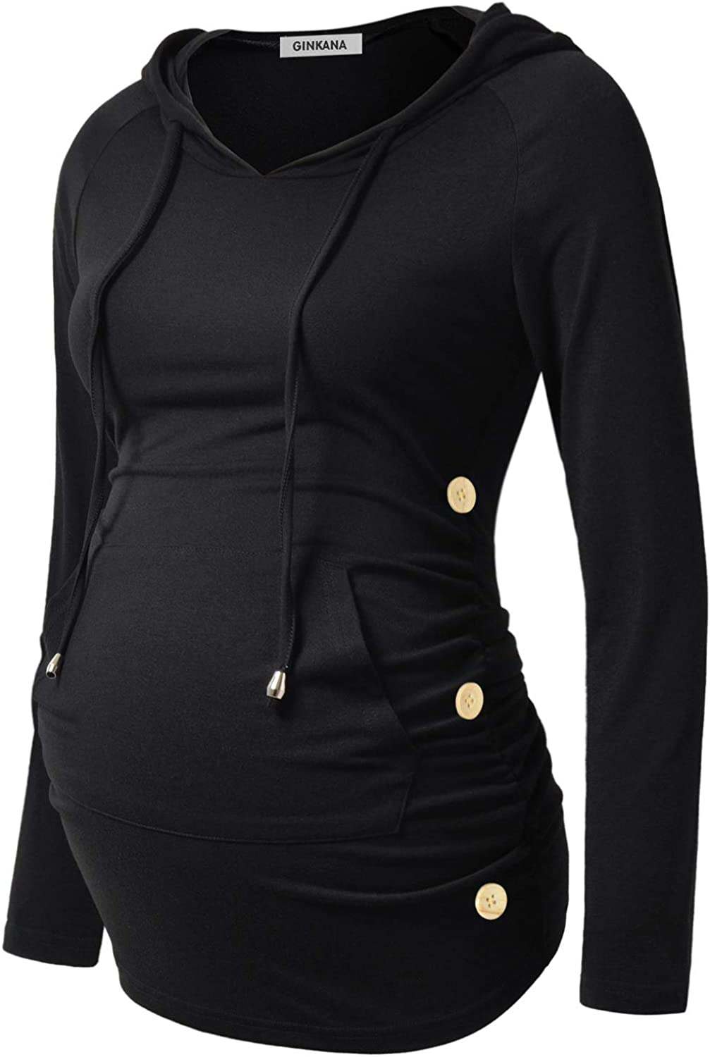 GINKANA Maternity All items free shipping Indefinitely Hoodie Long Sleeves Button Casual Shirts Side