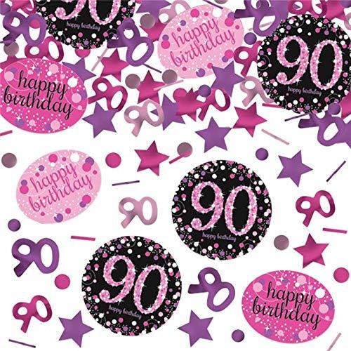 Glitzer-Konfetti * 90. Geburtstag * als Tischdeko | 1000 Teile in metallic Schwarz-Pink-Silber für Party und Jubiläum | Deko Oma