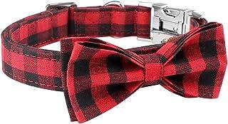 Mtliepte Plaid Dog Cat Collar Bowtie Heavy Metal Buckles Soft Comfy Adjustable Collar 3 Sizes