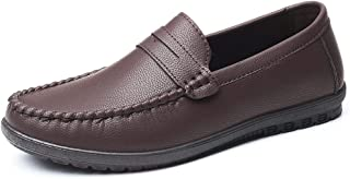 QinMei Zhou Penny Loafer for Men Boat Shoes Slip on Style Microfiber Leather Flat Round Toe Lined Stitching Anti Slip Super Soft Lightweight (Color : Brown, Size : 6 UK)