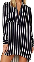 LIM&Shop Women Summer Shirt Plus Size Tunic Top Long Sleeve Striped T-Shirt Casual Mini Dress V-Neck Pockted Slimming