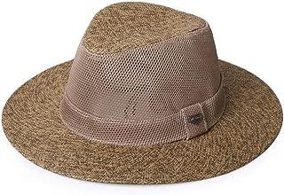 Vadeytfl Sun Hat Summer Men's Outdoor Travel Sunscreen Jazz Hat Wide Eaves Straw Hat Beach Cap (Color : Brown)