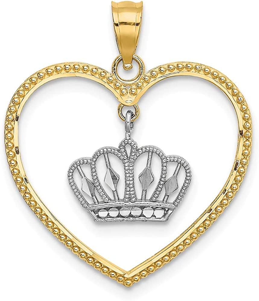 Solid 14k Yellow Gold Two Toned Heart Empe Crown Max Detroit Mall 58% OFF Beaded Dangling