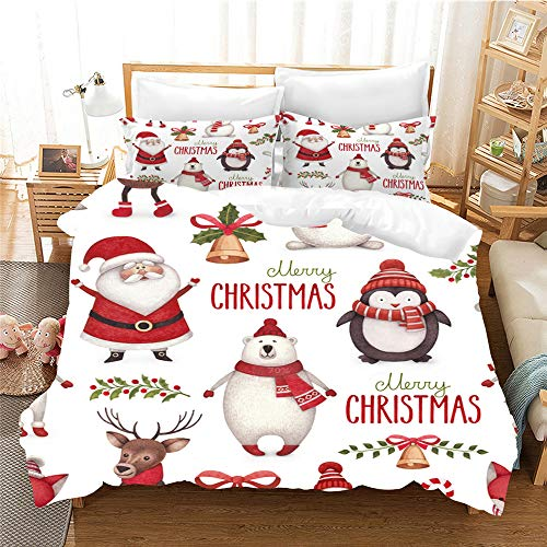 3D Christmas Bedding Set, Kids Christmas Tree Santa Claus Elk Penguin Snowman Duvet Cover Bedding Set With Pillowcases Single/Double/King Soft Bedding Cover, Gift for Girls Boy (140x200cm-2pcs,6)