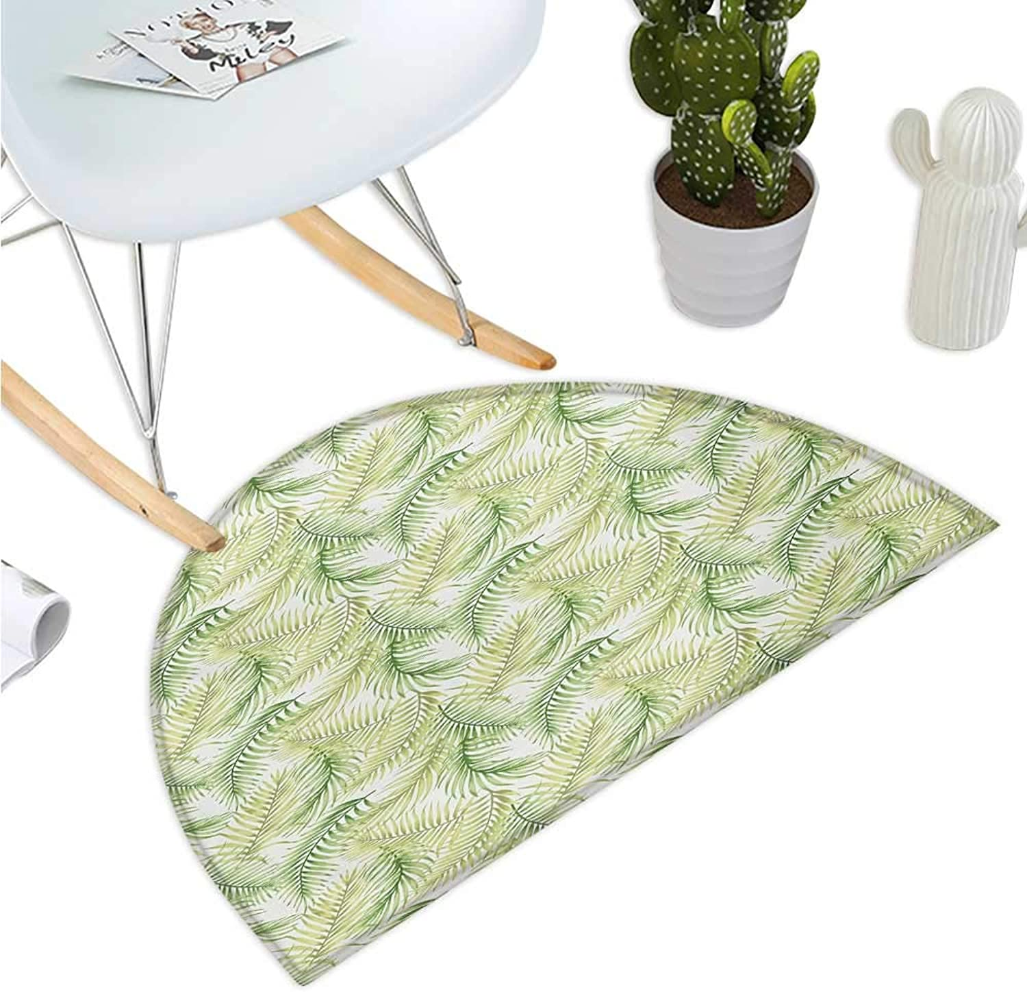 Palm Leaf Half Round Door mats Green Leaves of Coconut Palms Watercolor Style Fresh Nature Pattern Bathroom Mat H 39.3  xD 59  Fern Green Pale Green