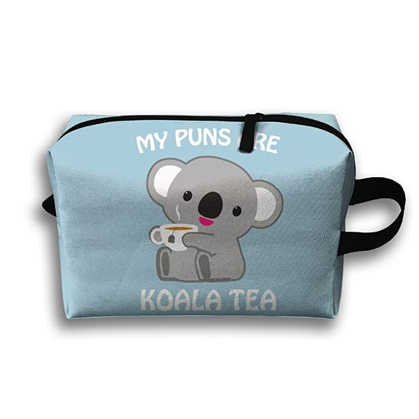 Michgton Cosmetic Bag Koala Bear Tea Women's Durable 3D Printing Travel Multifunction Makeup Case
