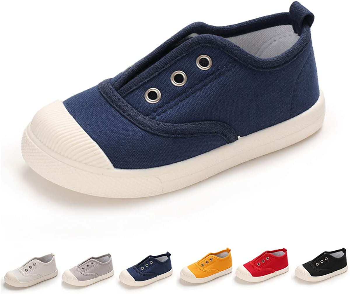 BENHERO Toddler Kids Boys Girls Candy Color Canvas Slip-On Shoes   Casual Sneaker Loafer Running Tennis Shoes   Fashion and Lightweight