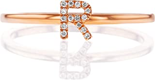 Social Value 14K Solid Rose Gold Natural Diamond Initial 'R' Letter Personalized Stacking Ring