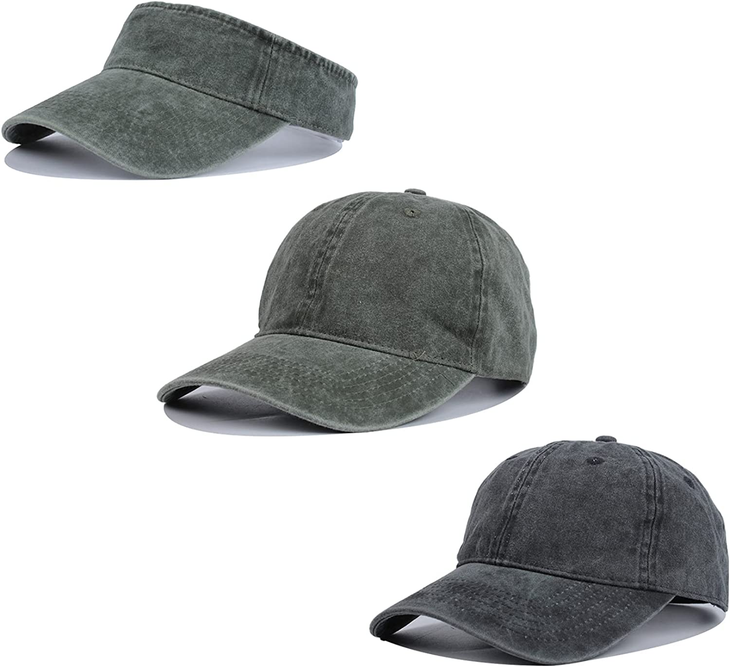 Crazy Era Adjustable Baseball Cap and Sun Visor Hat Washed Cotton Outdoor Sport Plain Dad Hats for Men and Women 3 Pack