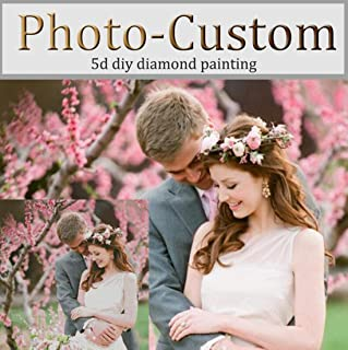 OneHippo Personalized Photo Customized Diamond Painting Kits, Full Drill Diamond Embroidery Kit with Round/Square Beads for Home Decor