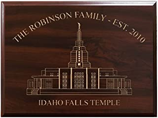 TimberCreekDesign Personalized Sign with Family Established Year Idaho Falls LDS Temple Decorative Carved Wood Sign Quote, Faux Cherry