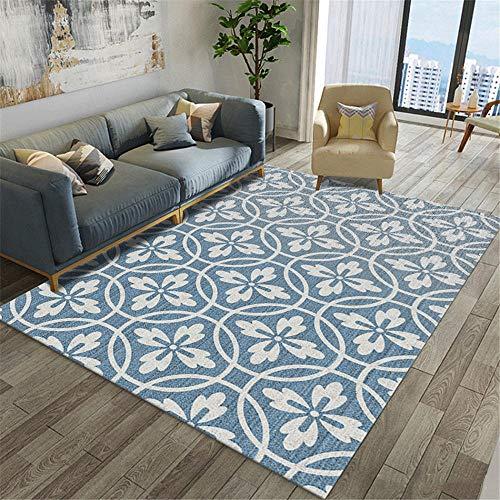 Xiaosua Teppich auslegware blau Teppich Wohnzimmer Blau Rund Geometrisches Muster Langlebiger Teppich Waschbar Carpet Living Room 160X230CM Teppich Wohnzimmer 5ft 3''X7ft 6.6''